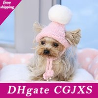 Wholesale hats handmade cat resale online - Handmade Pink Ring Bells Knitted Kawaii Pets Store Warm Lovely Dog Hats For Small Pets Cats Maltese Yorkie Winter Cap