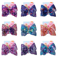 Wholesale inch scale for sale - Group buy Jojo Siwa Kids Hairpin Mermaid Fish Scale Inch Bowknot Barrettes Dazzle Gradient Color Bows Hair Clip Girls Headdress Accessories D82708