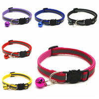 Useful Round Pet Collars Reflective Bell Cat Face Adjustable Size Pet Necklace Neck Strap Safety Buckle Cat Dog Lead Accessory VT1574