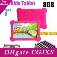 Wholesale 7inch allwinner tablet pc resale online - Q88 inch Kids Tablet A33 Quade Core gb mb Android Tablet Pc Support Tf Card With Soft Silicone Case