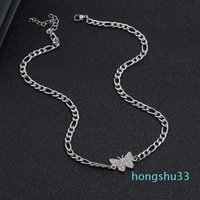 Wholesale beautiful diamond pendants resale online - Hot Sale Sparkling rhinestone diamond beautiful butterfly choker pendant necklace for women girls new popular ins fashion designer silver