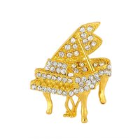 Wholesale gold pianos for sale - Group buy 6A3Ib Korean brooch gold plated diamond encrusted small piano brooch fashionable personalized all match clothing suit Suit clothes customize