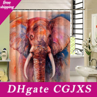 Wholesale fabric shower curtain printed for sale - Group buy New Design High Quality Colorful Big Art Elephant Print Shower Curtain d Polyester Fabric Waterproof Mildewproof Bathroom Curtain
