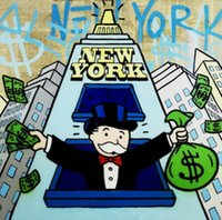 ingrosso arte di new york-Alec Monopoly Graffiti art di New York Partito Home Decor Artigianato / HD Stampa della pittura a olio su tela di canapa di arte della parete della tela di canapa 200.817