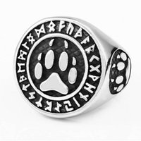 Wholesale bear rings resale online - Fashion Ring Jewelry L Stainless Steel Viking Runes Letter Ring With Bear Palm Print