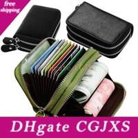 Wholesale double clutch wallets resale online - Unisex Leather Id Credit Card Holder Double Zipper Credit Card Wallet Cowhide Card Holder Wallet Clutch Purse Coin Storage Bags
