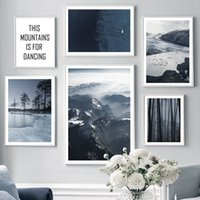 Wholesale painting snow landscape for sale - Group buy Fog Mountain Forest Snow Winter Landscape Wall Art Canvas Painting Nordic Posters And Prints Wall Pictures For Living Room Decor