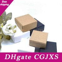 Wholesale white small paper resale online - White Black Brown Kraft Craft Paper Jewelry Pack Boxes Small Gift Box For Biscuits Handmade Soap Wedding Party Candy Packaging Box Lx0580