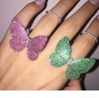 Wholesale 925 butterfly rings for sale - Group buy luxury design made of sterling silver the moving butterfly ring with white blue green red or black zircon wedding jewelry