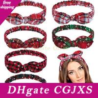 Wholesale bunny bows for sale - Group buy Women Girls Christmas Headband Plaid Snowflower Elastic Bow Hairband Bunny Ears Heaband Christmas Hair Accessories Hha996