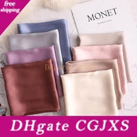 Wholesale office scarves resale online - 70 cm Summer Brand Silk Scarf Square Women Shawls And Wraps Fashion Solider Office Small Hair Neck Hijabs Foulard Blanket