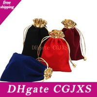 Wholesale gold drawstring bags for sale - Group buy Velvet Gold Trim Drawstring Jewelry Gift Bags Pouches cm Jewelry Package Storage Gift Favor Decor WB241