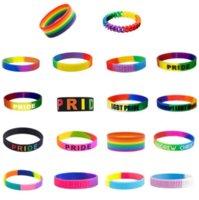 Wholesale Festive Trendy Decoration Rainbow bracelets Segmented Gay Pride Silicone Rubber Bracelet Adult Size for Promotion Gift DWA819