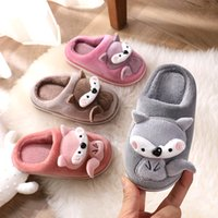 Wholesale children winter slippers resale online - 2020 Winter Cartoon Slippers Kids Toddler Girl Flip Flop Baby Boys Fur Slides Cotton Indoor Shoes Warm Fluffy Children Slippers