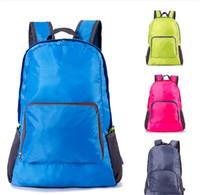 Wholesale nylon folding backpacks resale online - Solid Folding Backpack Ultra Light Shoulder Bag Foldable Travel Hiking Camping Large Rucksack Totes Portable Sport Gym Storage Bag E81902
