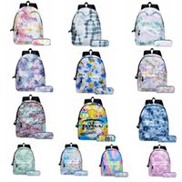 Wholesale food ties resale online - Tie dyed School Bag Tie dye Backpacks Bag Fashion Canvas Girl Book Bags Tie dye Pen Bags With Backpack Children Storage Bag Pen Bags GWD846