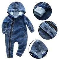 Wholesale stylish baby clothes resale online - Stylish Boys Girls Wear Hooded Conjoined Jumpsuit Jeans high quality Baby girl Clothes August