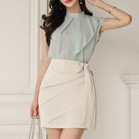 Wholesale chiffon short sets for women resale online - M3rlx Women s New socialite fashion chiffon top hip covered Hip hip skirt Top sheath skirt set for women