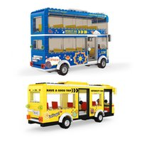 Wholesale model small boys girls for sale - Group buy Educational toy transportation vehicle Bus intercity double decker bus small particle blocks toy models for boys girls and children
