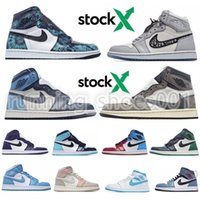 24 tênis venda por atacado-Nike air jordan retro 1 AJ1 Zoom Racer Real Obsidian Destemido Travis Scotts Mens sapatos casuais UNC 1s Turbo Verde Chicago Sneaker NakeskinJordâniaretro 24