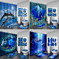 Wholesale dolphin shower curtain for sale - Group buy 3D Ocean Design Dolphin Waterproof Fabric Bathroom Curtain Shower Curtains Set Anti skid Rugs Toilet Lid Cover Bath Mat