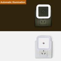Wholesale plug night lights sensor resale online - LED Night Light Mini Light Sensor Control V V EU US Plug Night Lamp For Children Kids Living Room Bedroom Lighting