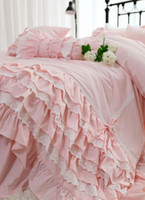 Wholesale ruffled bedding bedspreads for sale - Group buy Romantic princess ruffled bedding set twin full queen king cotton single double home textile bedspread pillow case duvet cover