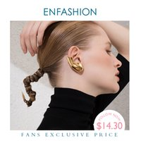 клипсы оптовых-ENFASHION Punk Earlobe Ear Cuff Clip On Earrings For Women Gold Color Auricle Earings Without Piercing Fashion Jewelry E191121 200923