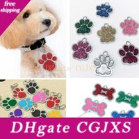 Wholesale names for pets resale online - Dog Tag Engraved Cat Puppy Pet Id For Fashion Name Collar Tag Pendant Pet Accessories For Bone Glitter Footprint Wx9