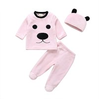 Wholesale babys girls clothes resale online - Clearance cut babys Newborn Winter Newborn Baby Girl Boy Cartoon Tops Pants Outfits Fluffy Warm Clothes Z0201