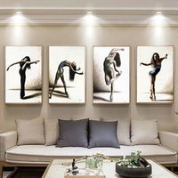 Wholesale ballet art painting for sale - Group buy Retro Minimalist Nordic Canvas Painting Wall Art Poster Ballet Dancing Picture Europe Drawing Figure for Living Room Home Decor
