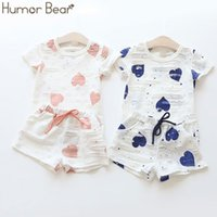 Wholesale linen sets baby girl for sale - Group buy Humor Bear Baby Girls Clothes Sets Summer Heart Printed Girl Short Sleeve Shirts Shorts Casual bodysuit Kids Clothes