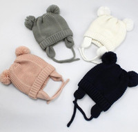 Wholesale fashion design baby hat for sale - Group buy baby Kids Winter Warm Hats Cartoon Ear Design With Warm Velvet Hats Knitted Fashion Trendy Beanie Winter