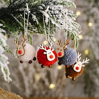 decoração de cervos para casa venda por atacado-Decoração de Natal de feltro Decor Xmas Tree Christmas Deer Pendant Ornaments Mini Elk Ano Novo caçoa o presente partido Home Detalhes no DHC2395