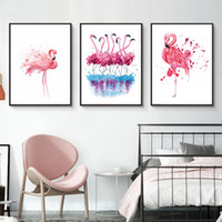 Wholesale triptych wall art modern resale online - Nordic Style Flamingo Animal Posters Prints Triptych Wall Art Pictures For Living Room Modern Home Decor Canvas Painting