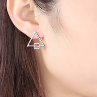 Wholesale swarovski earrings for sale - Group buy Crystals From Swarovski Geometric Stud Earring For Women Girl Silver Earrings Triangle Earing Jewelry Gift