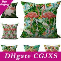 Wholesale case couples online – custom Dual Couple Flamingo Pillow Case Cushion Cover Linen Cotton Throw Square Pillow Cover Colors Custom Free x4cm g