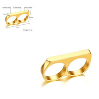 Wholesale titanium knuckle dusters for sale - Group buy Titanium Steel Gold No knuckle dusters boxers Three color muay thai Double finger Double Ring Ring Refers To Tiger Jewelry Self defense