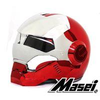 Wholesale ironman helmet resale online - MASEI IRONMAN helmet Splice Electroplating Colours Motorcycle helmet Casque Motocoross half Personality Open face