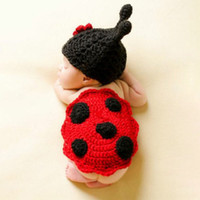 Wholesale prop newborn stars for sale - Group buy Baby hundred days seven star ladybug cloak photography set newborn baby lace handmade props knitted hat Cloak knitted hat