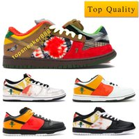 Wholesale leather home shoes resale online - Top Quality What The Dunks Man Shoes Raygun Tie Dye Black White Home Women Shoes With Box Size