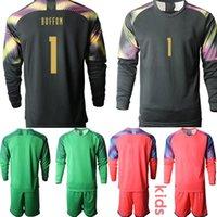 Wholesale italy buffon goalkeeper jersey for sale - Group buy Custom European Cup Italy goalkeeper buffon Kids Football Kits Long Sleeve Soccer Jerseys camisa de futebol Clothes Boys