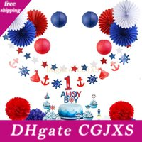 Wholesale party themes boys for sale - Group buy 1 Years Kids Birthday Party Decoration Set First Birthday Boy Party Nautical Theme With Cupcake Topper For st Birthday