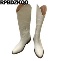 Wholesale wide western boots for sale - Group buy wide calf shoes western boots cowboy tall british chunky women knee high long waterproof beige pointed toe cowgirl block winter