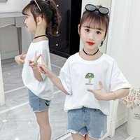 Wholesale summer vegetables resale online - 2020 girls summer short sleeve top new round neck casual little girl cartoon fruit cotton cotton T shirt and vegetable T shirt