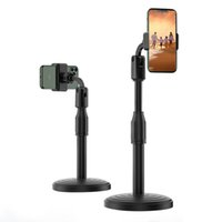 Wholesale phone holder for video online – Desktop Mobile Phone Holder Stand Rotate for Smartphone Live Streaming Video Call Youtube With Round Base