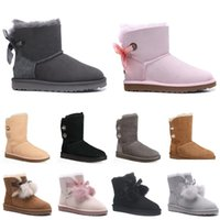 Wholesale grey suede over knee flat boots resale online - 2020 winter snow Boots Australia women snow boots ankle over the knee Glitter Sequin Boot short high Button Bling winter booties VAvT
