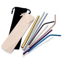 Wholesale 304 Stainless Steel Straw Bent And Straight Reusable Colorful Straw Drinking Straws Metal Straw Cleaner Brush Bar Drinking Tool