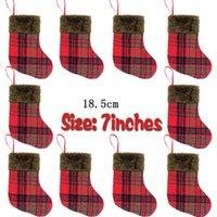 Wholesale small christmas socks resale online - Christmas decorative socks small Plaid Plush Christmas socks gift bag Pendant Christmas bags Party Supplies style BWE787