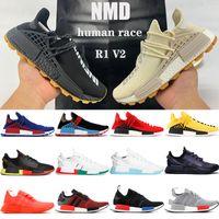 Wholesale With box NMD Human Race Pharrell Williams mens running shoes infinite species Solar Pack R1 V2 triple white orange blue men women Sneakers